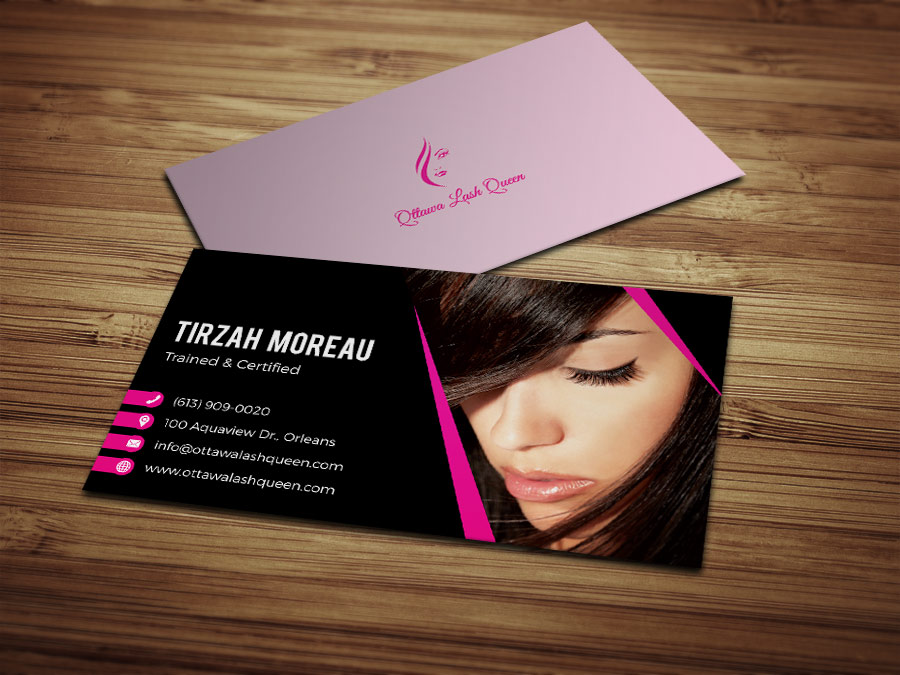 Business card beauty designful web multimedia design business cards ottawa lash queen reheart Image collections